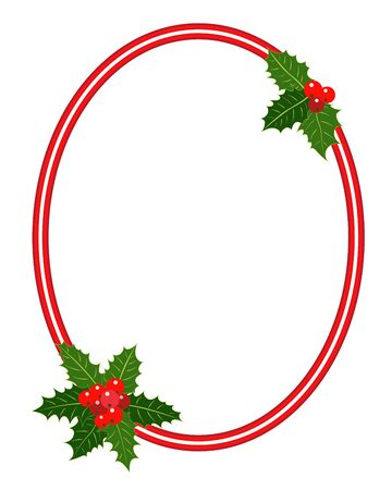 Christmas frame with Holly leaves ellipse for your design.