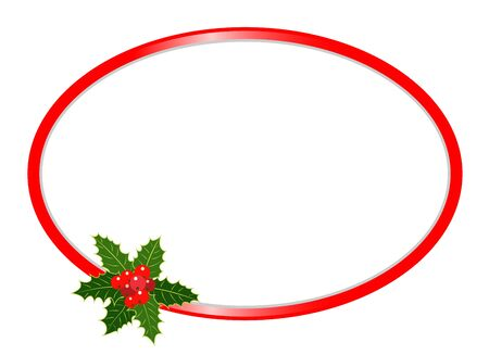 Christmas oval frame with Holly berries for your design and text.