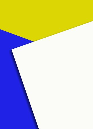 White paper sheet on blue and yellow background template.