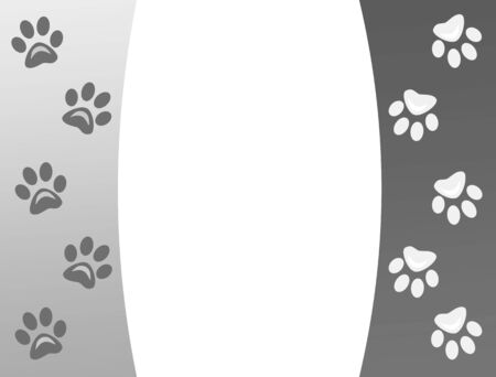 Animal paw prints frame background with empty space for your text.