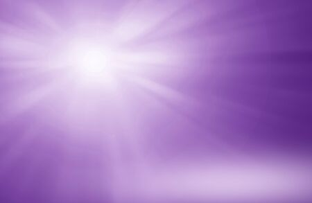 Glowing rays of light with reflection on purple background, empty room lighting Studio with empty space for your design.