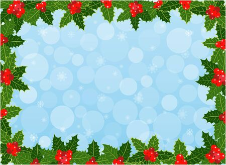 Christmas frame background with Holly leaves pattern design with copy space for your text. 일러스트