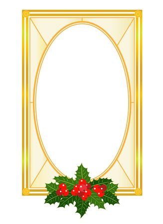 Golden Christmas frame with Holly leaves in retro style Christmas card template design