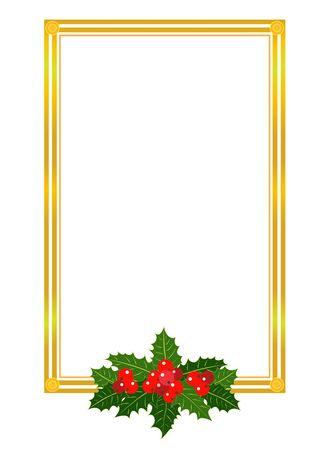 Golden Christmas frame with Holly leaves design template with empty space for your text.
