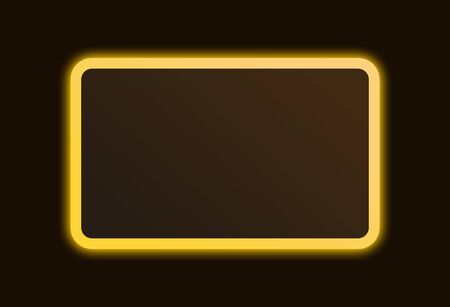 Bright gold neon glowing sign frame with space for text.