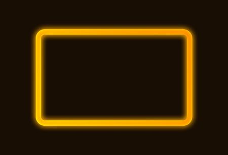 Abstract Golden bright glowing neon frame signboard with copy space for text.
