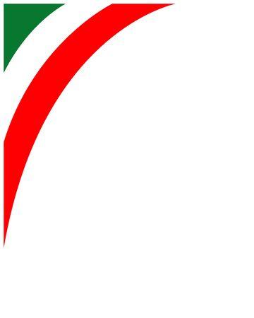 Italian flag corner frame with empty space for your text. Ilustração Vetorial