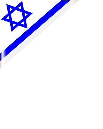 Israeli flag frame corner with blank space for text.