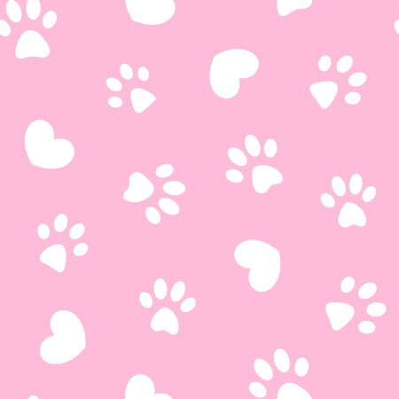 White paws and hearts on pink background seamless pattern wallpaper.