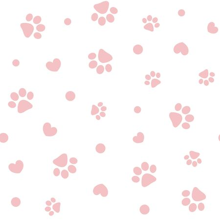 Seamless pink pastel pattern with paws and hearts.