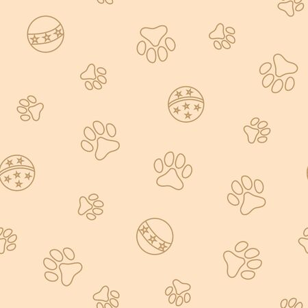 Seamless pattern with pet paw prints and balls.