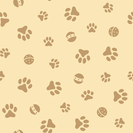 Seamless pattern background with pets paw prints and balls, playing with puppy, kitten with ball