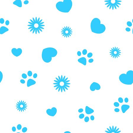 Seamless blue pattern background with paw prints of pets and hearts. Illustration