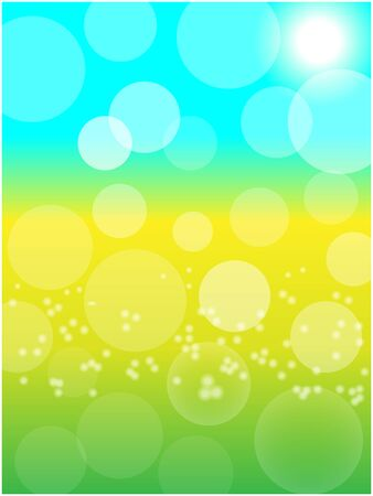Summer spring Sunny bokeh abstract background, yellow blooming meadow in sunlight.