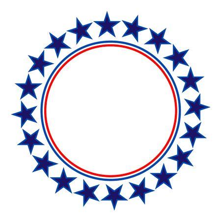 Round frame American flag stylized  symbol, emblem  イラスト・ベクター素材
