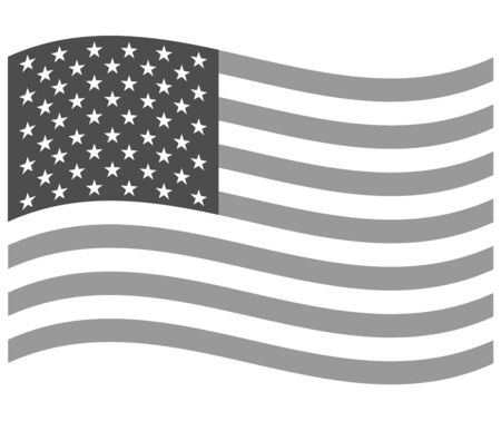 USA flag wave icon gray monochrome image