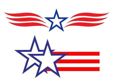 American star symbols signs  set