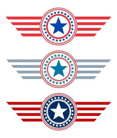 American decorative star symbols icon set
