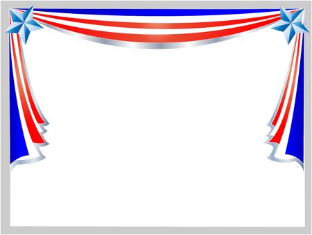 American flag abstract holiday frame with empty space for your text.
