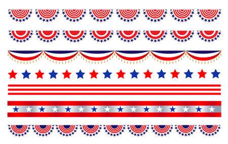 American abstract flag decorative banner border divider set.