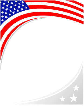 American abstract flag corner banner border with an empty space for text. Vetores