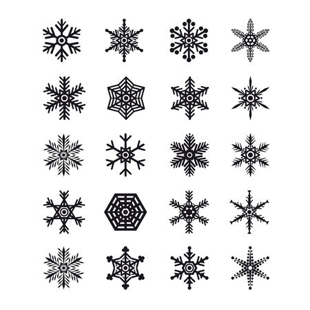 mas: Set of snowflakes icons collection. Vector illustration