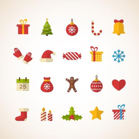 mo�os navide�os: Conjunto de iconos planos de Navidad. Ilustraci�n vectorial