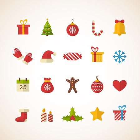christmas tree set: Set of flat Christmas icons. Vector illustration