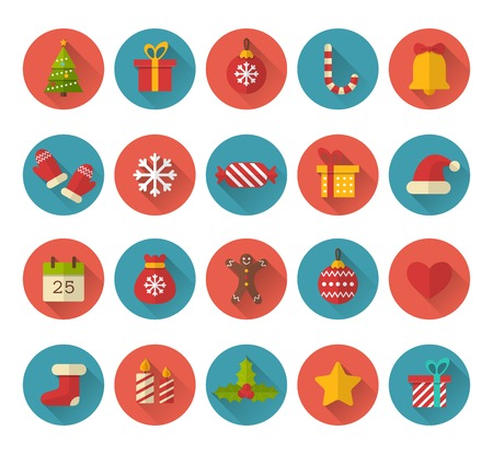 decoration objects: Christmas flat icons with long shadow effect Illustration