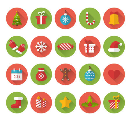 Christmas flat icons with long shadow effect Ilustrace