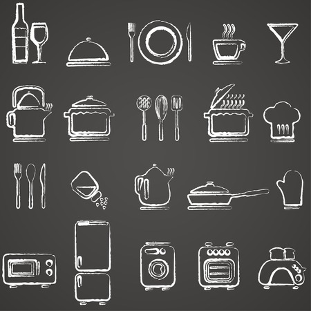 drink tools: Vector kitchen icons set