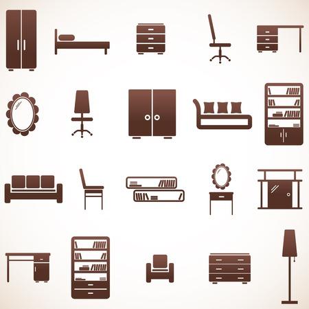 家具のアイコンを設定  イラスト・ベクター素材