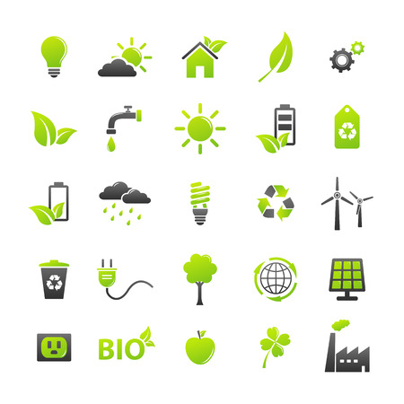 green and black: Ecology icons set