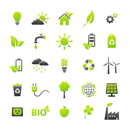 grün: Ökologie Icons Set