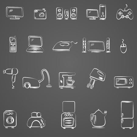 standby: Home appliances drawing icon set Illustration