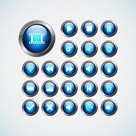 icon buttons: Conjunto de icono de medios de comunicaci�n, botones Vectores