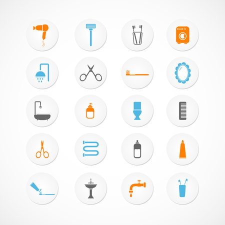Bathroom and toilet icons Vector