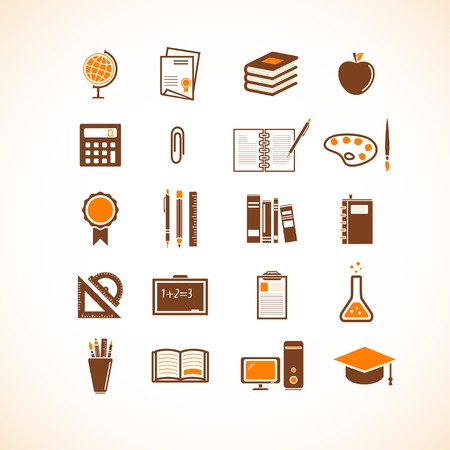 Education and school icons Stock Vector - 34652730