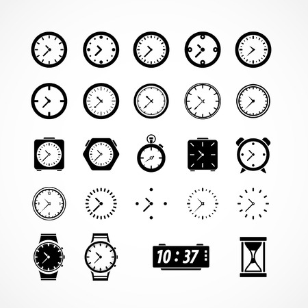 Clocks icons. Vector illustration