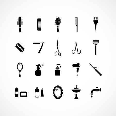 perm: Set of hairdressing equipment icons