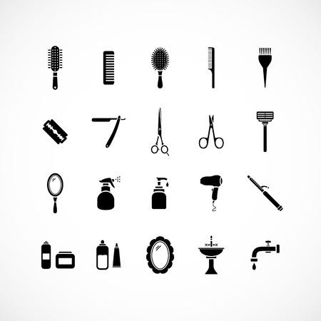 hairdressing salon: Set of hairdressing equipment icons