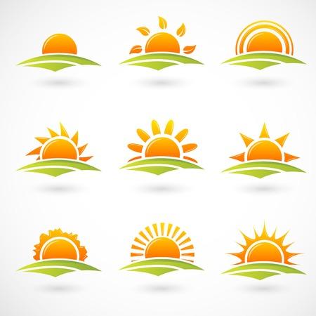 luz solar: Ícones do sol Ilustração