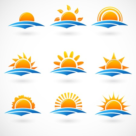 sunset on the beach: Sunset icons