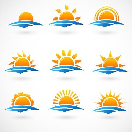 Západ slunce ikony Ilustrace