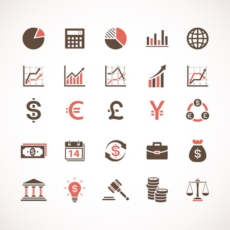 currency symbols: Business and finance icons Illustration