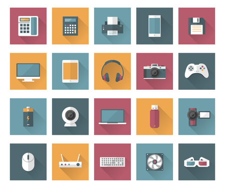 headphone: Set of technology and multimedia devices icons with long shadow effect. Vector illustration