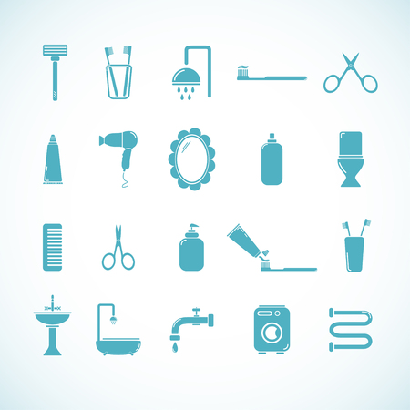 house icon: Set of 20 bathroom and toilet icons. Vector illustration