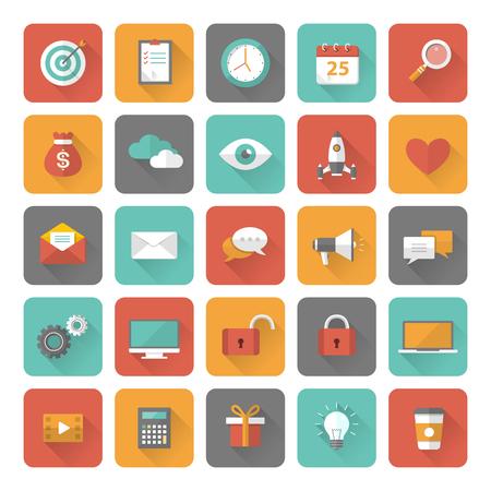 Set van 25 platte kantoor, het bedrijfsleven, media en web design iconen met lange schaduw effect. Vector illustratie eps10