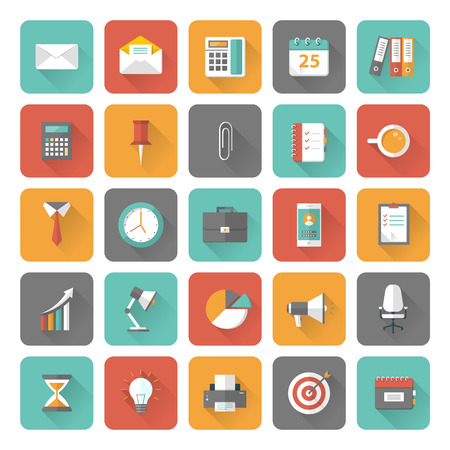 Set of 25 flat office and business icons with long shadow effect.