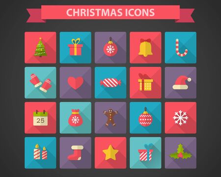 shadow effect: Christmas flat icons with long shadow effect Illustration
